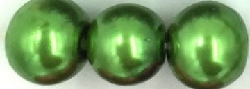 13 Metallic green - glass pearls - beads - all sizes
